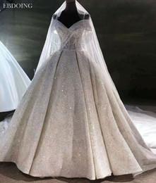 $enCountryForm.capitalKeyWord NZ - EBDOING Luxurious Ball Gown Wedding Dress Sweetheart Neckline Short Sleeves Chapel Train Plus Size Lace Up Custom Made Bridal Gown