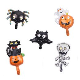 balloons cats UK - Mini Pumpkin Cat Shaped Aluminum Balloons Halloween Holiday Party Decoration Balloons Bat Ghosting Spider Party Supplies