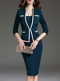 Suits Waistband Australia - Autumn dress suit explosion and knee long skirt, waistband and hip slimming professional suit sexy and nice office leader need