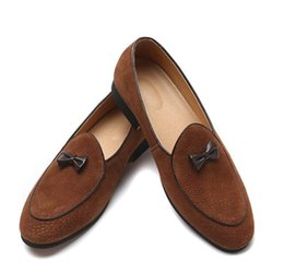 $enCountryForm.capitalKeyWord UK - Luxury Shoe British Style Fashion Suede Leather Men Loafers Bowknot Decor Slip on Men Driving Shoes Male Boat Flats Men moccasins hombre