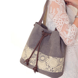 $enCountryForm.capitalKeyWord NZ - Casual Shopper Bag Handbag Women Canvas Tote Shoulder Bag Vintage Printed Ladies Designer Big Capacity Drawstring Tote bolsa