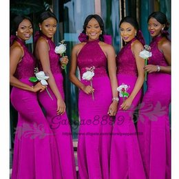 $enCountryForm.capitalKeyWord NZ - Modest Fuchsia mermaid Bridesmaids Dresses long with big bow 2019 Nigerian african Floor Length halter backless maid of honor gowns cheap