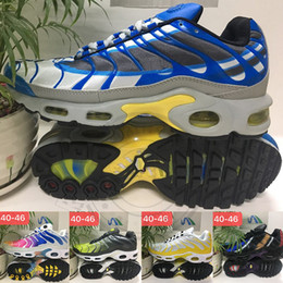 Cutting string online shopping - 2019 Mens Plus Tn Shoes Designer Plus QS Rainbow Sports Shoes Volt Golden Blue Requin String Men Running Casual Sneakers Trainers us