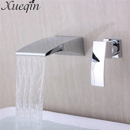 Single lever tapS online shopping - Xueqin Zinc Alloy Single Handle Flexible Chrome Brass Square Waterfall Kitchen Sink Single Lever Faucet Mix Tap Wall Mounted
