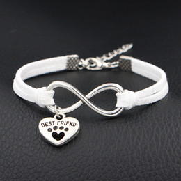 unique best friend jewelry UK - 2019 Unique Mixed Infinity Love Dog Best Friend & Dog Paw Prints Heart Bracelets & Bangles Handmade White Leather Suede Jewelry Dropshipping