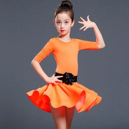 Latin Dancing Suit Australia - Children and adult Latin Dance dress Girl Middle Sleeve latin dance Practice Costume Flat Pants Separated Black Belt Suit JQ-289