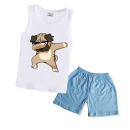 T Shirt Suit For Baby Girl UK - wholesale Summer Baby Clothing Set for Boys Tracksuit Kids Clothes T-shirt +Short Dabbing Funny Dog Cartoon Girls Sport Suit