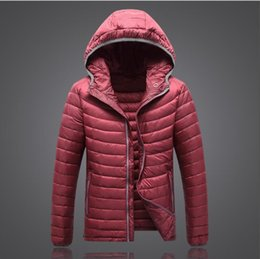 Light pink down coat online shopping - 2019 New WT1501 Warm Fashion for Men Feather Hooded Duck Down Jacket Pure Color Boutique Mens Feather Down Coat Thin Light Jackets