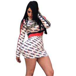$enCountryForm.capitalKeyWord NZ - F Letters Print Dress Long Sleeve Skinny Short Skirt Women Round Neck Bodycon Striped Dresses Summer Club Party Beach Shirts Clothes C43006