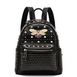 Rivets backpacks online shopping - 2018 New Genuine Leather School Bags For Teenage Girls Fashion Style Designer Brands Rivets Bee Travel Backpack Sac A Dos Femme