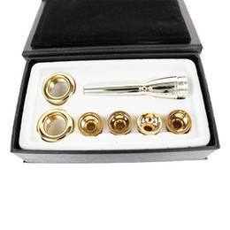 Wholesale 2C 3C 2B 3B 6 PCS   LOT Bb Trumpet Mouthpiece Brass Gold Lacquer Multi-Purpose T Adapter Professional Musical Instrument Nozzle