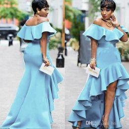 Floor length black silk robe online shopping - African Black Gilrs Light Blue Mermaid Evening Dresses Long Robe De Soiree Ruffles Short Front Long Back Formal Evening Party Wear Ogstuff