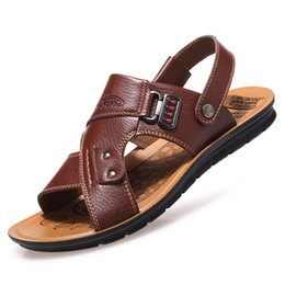 sandals casual Australia - Men Leather Sandals Summer Sandals Slippers Male Beach Men Shoes Bohemia Casual Shoes Non-slip Mens Leather