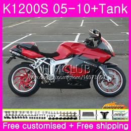 fairing bmw k Australia - Body+Tank For BMW K1200 S K 1200 S K1200S 05 06 07 08 09 10 Kit 30HM.6 K-1200S K 1200S 2005 2006 2007 2008 2009 2010 Fairing Cool Red Black