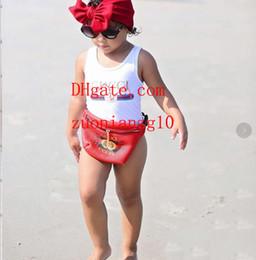 Ins лучшие продажи высокого класса цельный Детские комбинезоны купальники печати письмо купальник дети пляжная одежда 2T-8T A-U7 на Распродаже