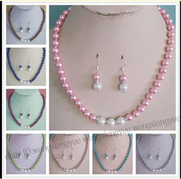 $enCountryForm.capitalKeyWord NZ - Long 18 8-10mm South Sea Shell Pearl Round Beads Necklace + Earrings Set AAA