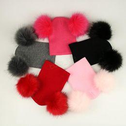 Wholesale tall furs for sale – custom Kids Pom Pom Beaies INS Winter Knitted Hat Warm Wool Hat Skull Beanie detachable Double Fur Ball Children Knit Outdoor Caps LJJA2835