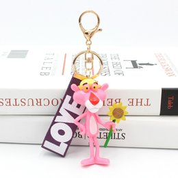 $enCountryForm.capitalKeyWord Australia - Cute Cartoon Pink Panther Keychain Key Ring For Women Men Lovely Resin Pendant Charms Fit For Bag Purse Accessories
