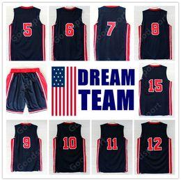 869f11e1e49 92 Dream Team Jersey Robinson Ewing Bird Pippen Drexler Malone STOCKTON  JOHNSON SPORT SHORTS Michael Sport Basketball jerseys
