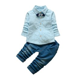 Wholesale good qulaity Baby Boy Clothing Set Autumn Bebe Sport Suit Children Boy Fashion Clothes Set New Arrival Infant Boy Shirt Pants