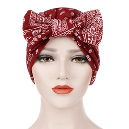 boho hair wraps Australia - Muslim Women Hijab Turban Printed Bow Boho Style Cap Ladies Head Hair Cover Wrap Scarves Headband Islamic Accessories Female