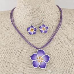 Rhinestone Jewelry Sets Designs Australia - Hot design jewelry sets Soft clay flowers diamond jewelry sets temperament necklace earrings set free shipping