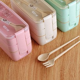 Green Plastic Straws Australia - Plastic Student Lunch Box with Fork Spoon Creative Green Wheat Lunch Box Wheat Straw Lunch Box 900ml Three-layer