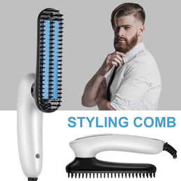 men hair brushes Australia - Portable Men Foldable Beard Straightening Comb Electric Hair Straighter Brush Multi-function Women Hair Styling Combs EU Plug