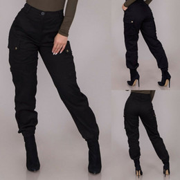 Wholesale cargo pants womens resale online - Solid Womens Cargo Pants Pockets Slim fit Straight High Waist Button Fly Pants Trousers Casual Streetwear Black Womens Trousers