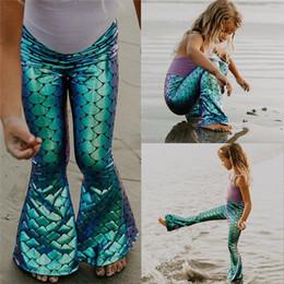 $enCountryForm.capitalKeyWord Australia - Novelty Kids Girls Skinning Mermaid Leggings Bell-bottom Pants Fashion Elastic Waist Long Flared Trousers Girl Clothes 2-7y