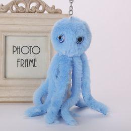 $enCountryForm.capitalKeyWord Australia - Cute Octopus Keychains Women Pompom Artificial Rex Rabbit Fur Car Key Ring Long Tassel Fluffy Key Chain Bag Jewelry Gift