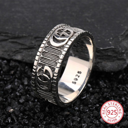 925 sterling silver ring personality student fashion temperament simple wild fresh couple letter style 2019 new