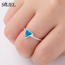 geometric triangle ring 2019 - SMJEL Blue Stone Triangle Rings for Women Simple Twist Ring Adjustable Geometric Jewelry Accessories Girls Party Ring Gi