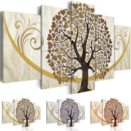 $enCountryForm.capitalKeyWord Australia - Fashion Home Decoration Unframed 5 Piece Retro Love Tree Canvas Print Oil Painting Wall Pictures for Living Room Paintings,Choose Color And