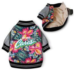 printed pet pads 2019 - Dog Clothes Winter Coat Jacket Hawaii Aloha Pet Clothes Cotton Padded Warm Pet Jacket ropa perro Flower Print Dog Clothi