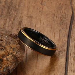 black matte ring Australia - Cool Handmade Men Matte Finished IP Gold Black Plated Tungsten Carbide Steel Ring Holiday Gift Ring for Sale