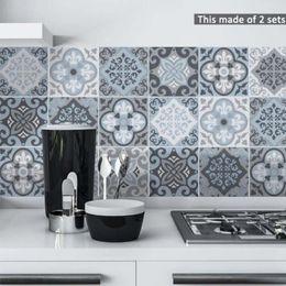 Diy Living Room Furniture Australia - Blue&Grey Mediterranean Geometry Wall Sticker DIY PVC Waterproof Self adhesive Furniture Bathroom Kitchen Dining Room Tile Decals