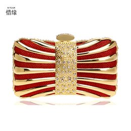 clutches for evenings Canada - XI YUAN women Clutch Mini Hardcase Metal Clutches Evening Shoulder Bag Party Dinner Handbag for girl gifts red gold black
