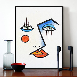 Painting Faces Australia - Minimalist Modern Abstract Face Picasso Poster Print Wall Art Pictures Nordic Fashion Style Living Room Canvas Painting Custom