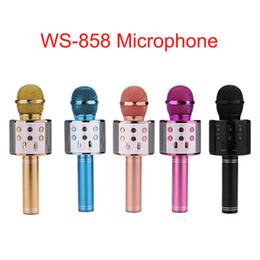 С WS-858 беспроводной микрофон портативный караоке Hifi Bluetooth динамик музыкальный плеер WS858 микрофон для дома KTV VS Q7