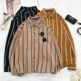 Couple Striped Shirt Australia - 2019 Spring And Summer New Korean Version Of The Couple Harajuku Men's Casual Loose Striped Hawaiian Shirt M-2XL