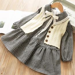 $enCountryForm.capitalKeyWord Australia - Girls outfits kids lace hole embroidery Bows tie lapel long sleeve plaid dress+knitted sweater cardigan waistcoat outwear 2pcs sets F9678