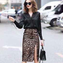 6350497dc3 2019 New Fashion Skirt Suits Women Gothic Sexy Elegant V Neck Blouse  Leopard Pencil Midi Skirt Work Office Lady Two Piece Sets