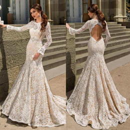 Wholesale black long sleeve short fitted dress resale online – Lace Mermaid Wedding Dresses Bodice Fitted Long Sleeve Backless Open Back Trumpt Ivory Lace Sweep Train Wedding Dress Bridal Gowns