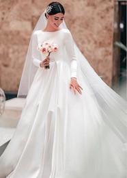 $enCountryForm.capitalKeyWord Australia - A-Line Satin Vintage Modest Wedding Dresses With Long Sleeves Simple Women Modest Sleeved Bridal Gowns Custom Made