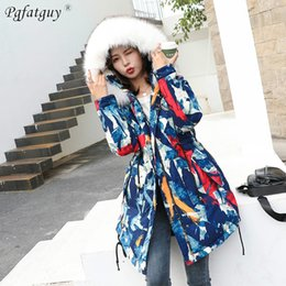 Long Parkas For Women Australia - Colorful Print Warm Down Jackets Womens Winter Waist Tie Long Quilted Blue Yellow Hooded Fur Coats Jackets 2018 Parkas for Women