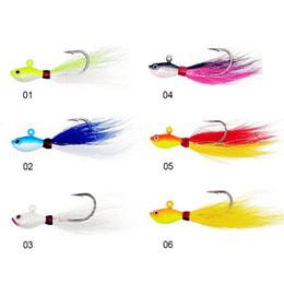 Fishing Lures Head Australia - 7G-56G 6pcs luminous Bucktail jigs fishing Lures 6 colors Bucktail jigging Baits lead head Buck tail Hair lead Jigs