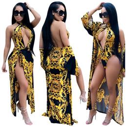 $enCountryForm.capitalKeyWord Australia - S-XXL Sexy Printing Long Sleeve Cover up women s designer bathing suit Two Piece Set One Piece v neck Swimsuit sexy swimwear