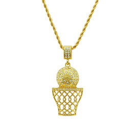 rope net wholesale UK - New Design Hip Hop Gold Basketball Net Pendant Necklace High Grade Full Crystal Cuban Chain Necklace Jewelry For Man