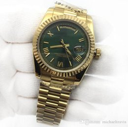 Luxury womens diamond watches online shopping - Mens Womens Watch Day Date mm K Gold Green Dial President Sapphire Cystal Diamond Number Men Watches Automatic Mechanical